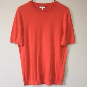 Reiss Red Cotton Knit Short Sleeve Top S
